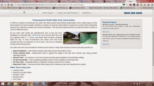 Content I wrote for Water Tank Refurbishment while at Luther Advertising.