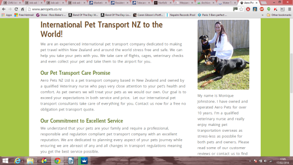The services provided by International Pet Transport company Aero Pets